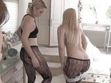 blonde milf blackmails three young babes for lesbian encouter